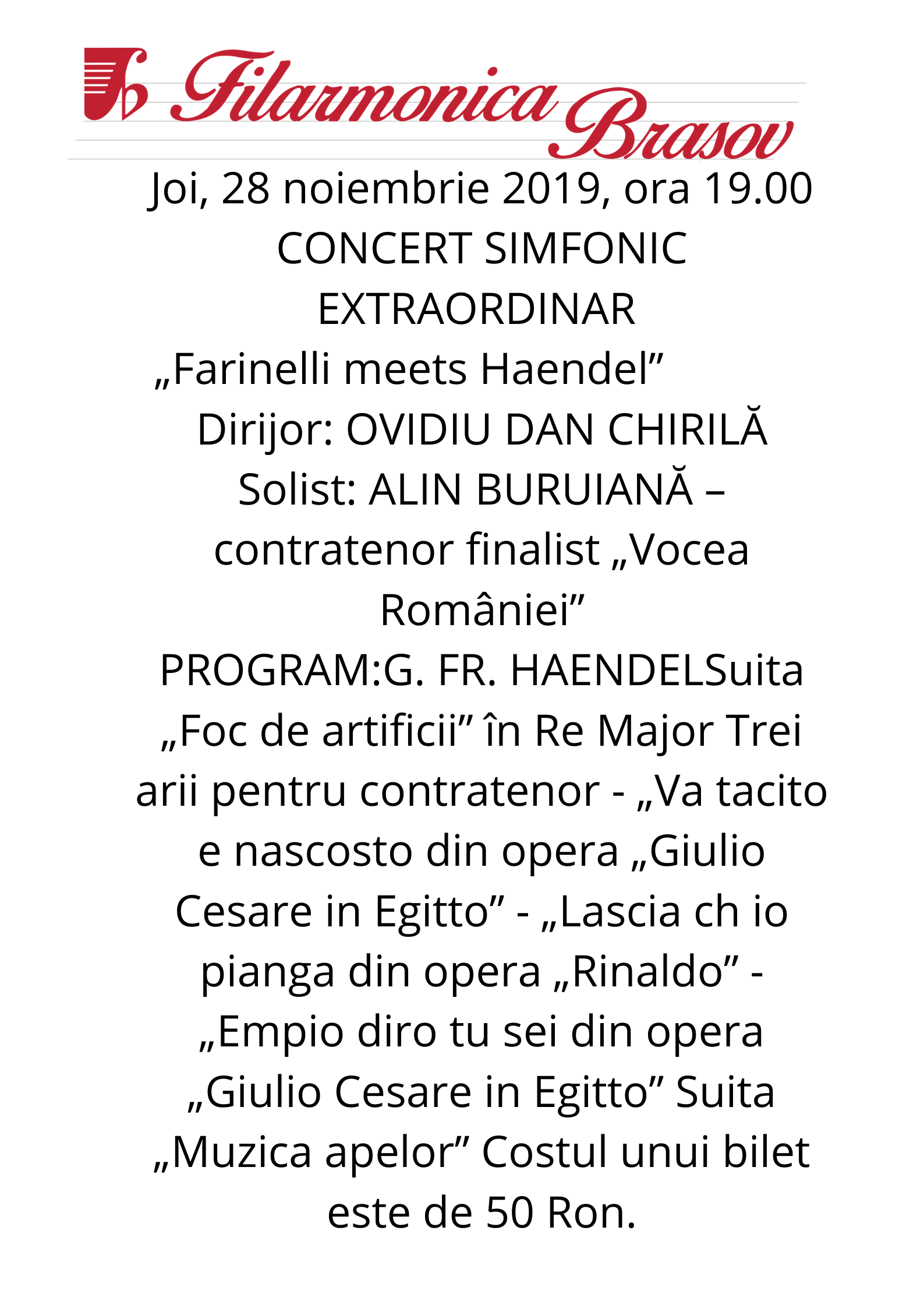 FILARMONICA BRASOV | CONCERT SIMFONIC EXTRAORDINAR | Farinelli meets Haendel